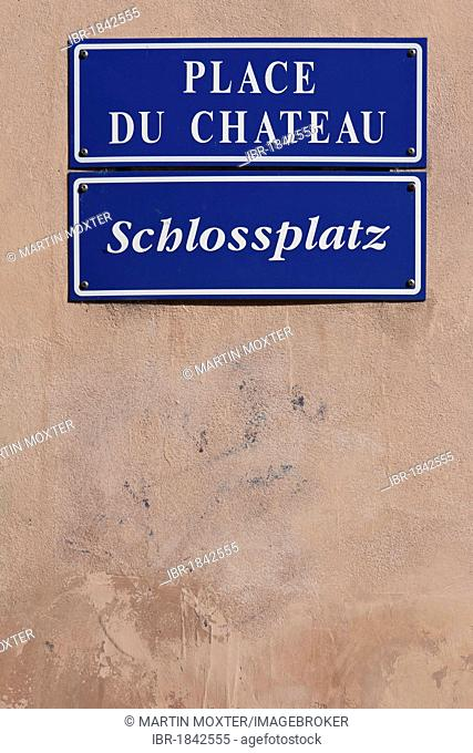 Street sign, Place du chateau or Schlossplatz or castle square, at the Strasbourg Cathedral or Notre Dame Cathedral, Strasbourg, Alsace, France, Europe