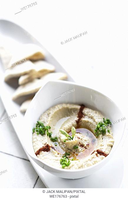 organic middle eastern hummus dip and pita bread set snack in tel aviv israel