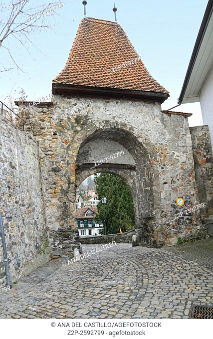 Thun, Switzerland - December 6, 2015: Castle view in the old town. Thun is a medieval city in the administrative district of Thun in the canton of Bern