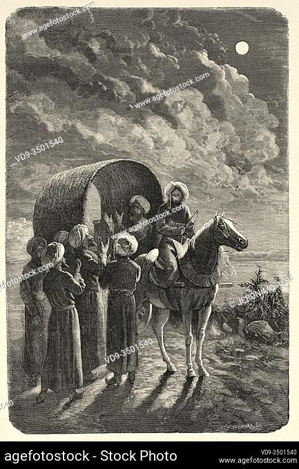 Armin Vambery bidding farewell to his companions, from Travels in central Asia 1863 by Armin Vambery. Old engraving El Mundo en la Mano 1878