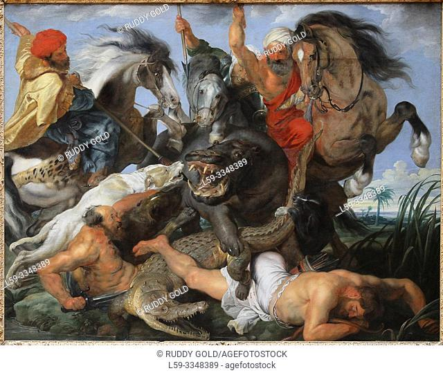 """The Hippopotamus and Cocodrile Hunt"", 1616, by Peter Paul Rubens (1577-1640)"
