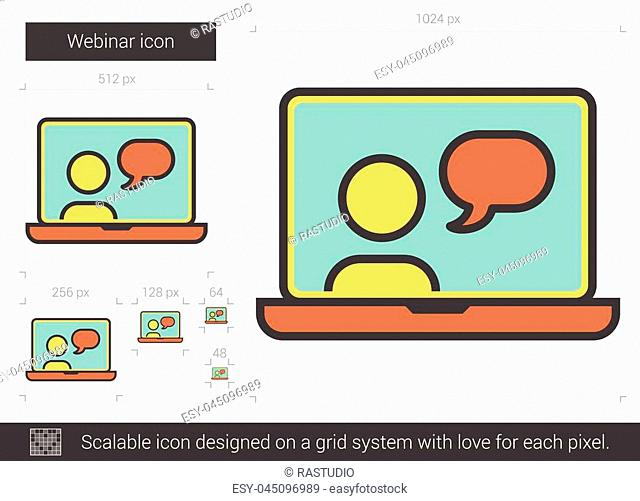 Webinar vector line icon isolated on white background. Webinar line icon for infographic, website or app. Scalable icon designed on a grid system