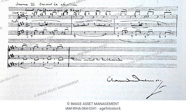 Handwritten composition by Claude Debussy (1862-1918) a French composer. Dated 20th Century