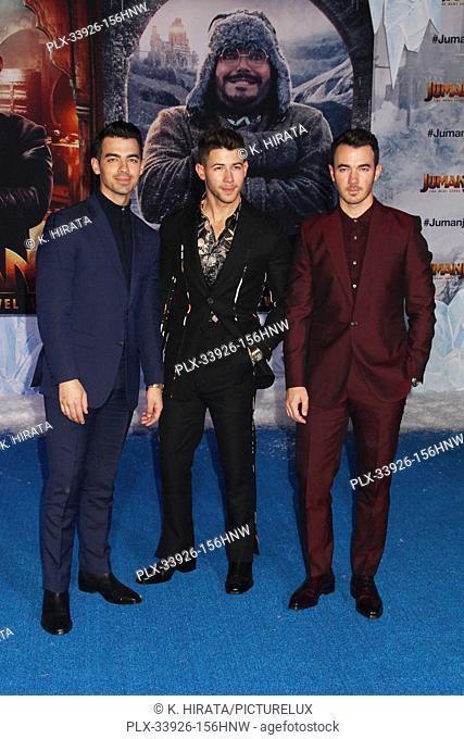 "Joe Jonas, Nick Jonas, Kevin Jonas 12/09/2019 """"Jumanji: The Next Level"""" Premiere held at the TCL Chinese Theatre in Hollywood, CA. Photo by K"
