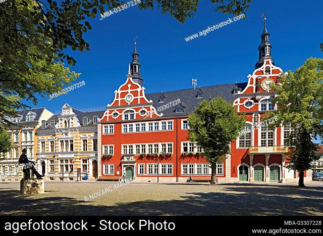 Renaissance town hall and Bach monument at the market in Arnstadt, Thuringia, Germany
