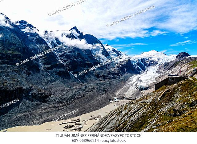 Scenic view of Grossglockner glacier in Austrian Alps a sunny day of summer. Environment concept