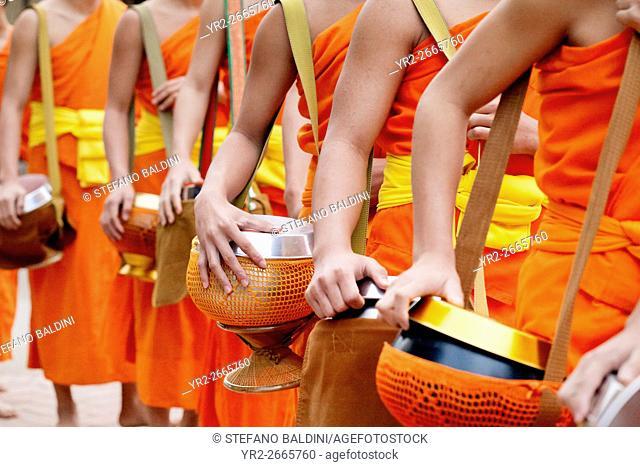 Monks collecting morning alms, Luang Prabang, Laos