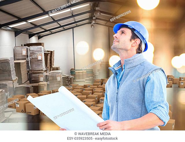 man with box in warehouse, transition