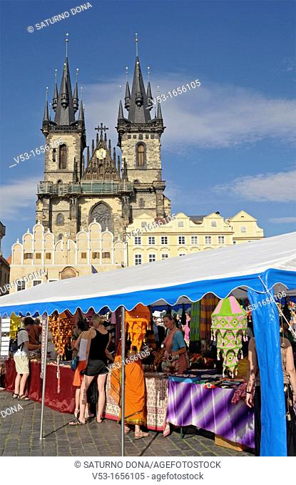 market stalls in Old Town Square and church of our Lady before Tyn Tyn Church Tynsky Chram, Prague, Czech Republic