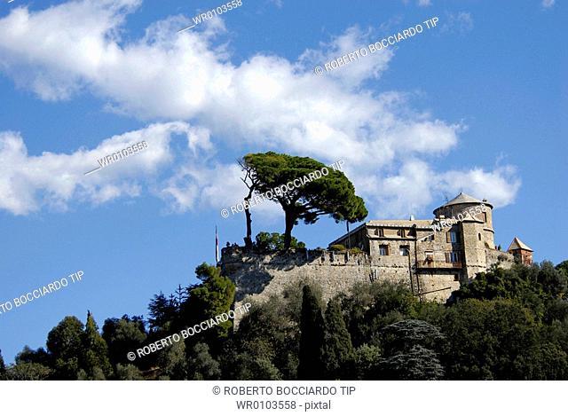 Italy, Liguria, Portofino, Brown castle