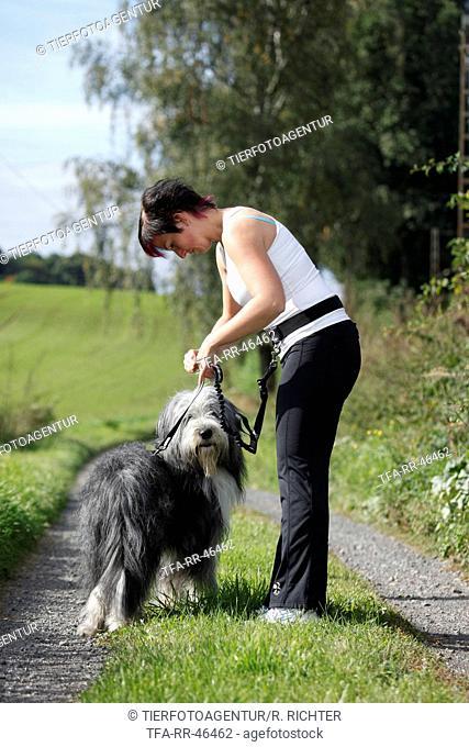 Jogger with Bearded Collie
