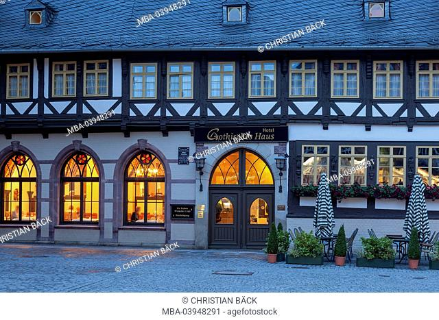 Hotel Gothic house on the marketplace, Wernigerode in the Harz, Saxony-Anhalt, Central Germany, Germany