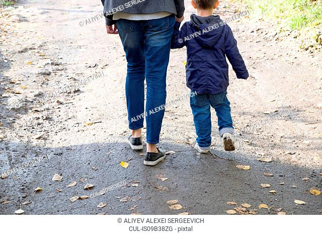 Rear view of woman and son strolling along dirt track