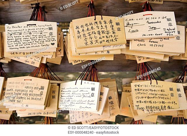 Wooden 'omikuji' (random fortunes at Shinto shrines and Buddhist temples in Japan) in Meiji-Jingu Shinto shrine on Sunday, Tokyo. Japan