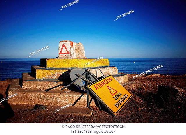 warning signs by the sea, Beach, Alcocebre, Castellon