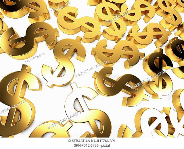 Golden US dollar signs, Illustration