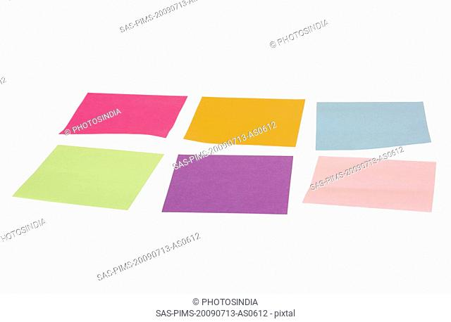 Adhesive notes on a white background