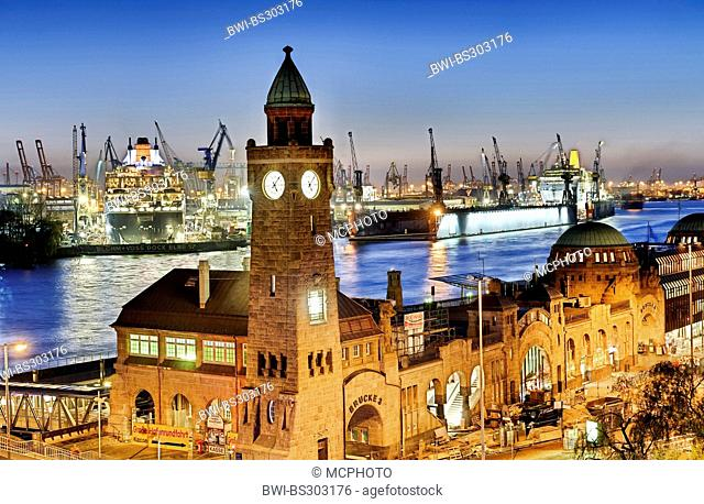 water level tower of the Landungsbruecken St. Pauli and ocean cruiser Queen Mary 2 in the dry-dock, Germany, Hamburg
