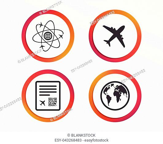 Airplane icons. World globe symbol. Boarding pass flight sign. Airport ticket with QR code. Infographic design buttons. Circle templates. Vector