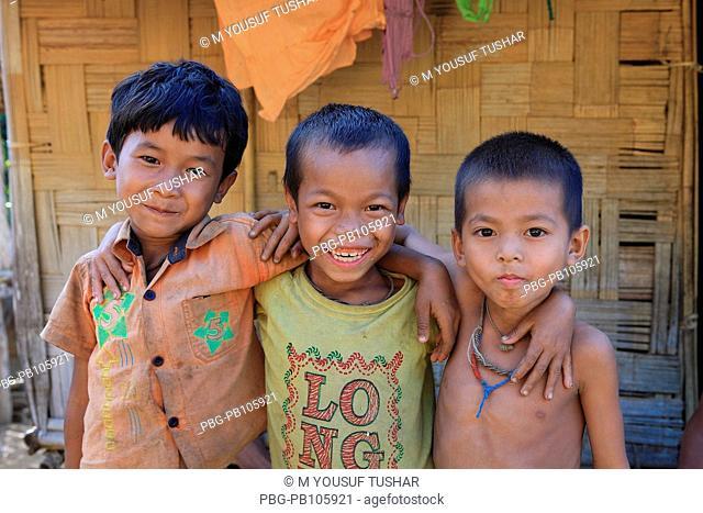 A group of ethnic children at Tindu Bandarban, Bangladesh December 2009