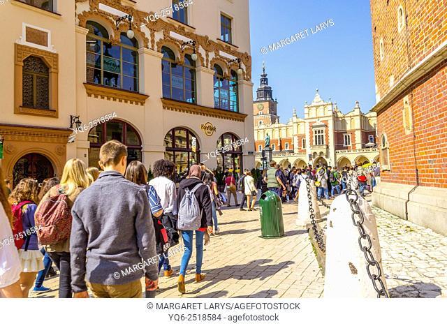 Tourists at Mariacki Square, Krakow, Poland