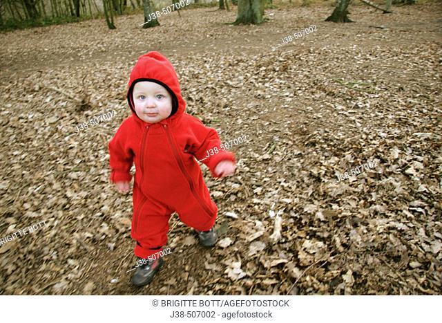 16 month old boy walking in the woods