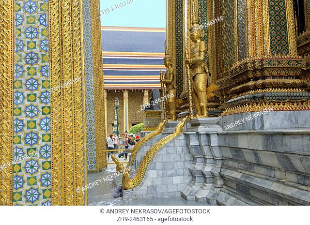 Wat Phra Kaew or Temple of the Emerald Buddha; full official name Wat Phra Si Rattana Satsadaram, the historic centre within the precincts of the Grand Palace
