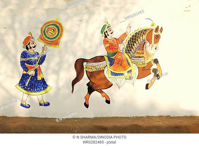 Rajasthani wall painting at Shilpgram , Udaipur, Rajasthan, India