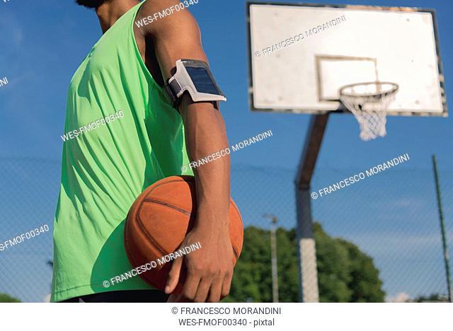 Young basketball player with ball and arm pocket