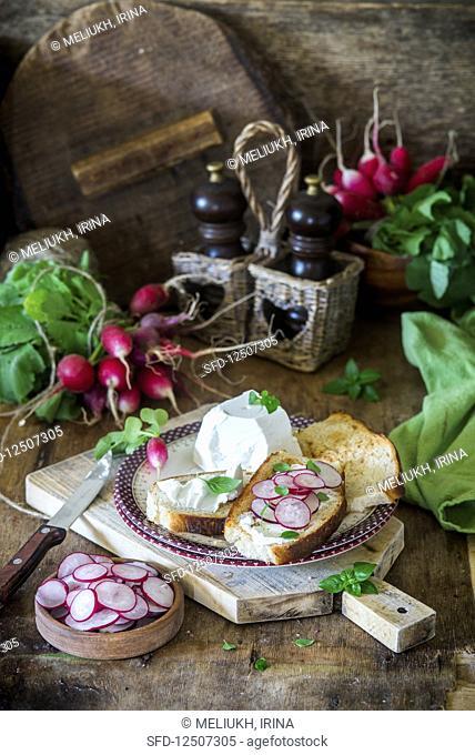 Radish and goat cheese sandwich