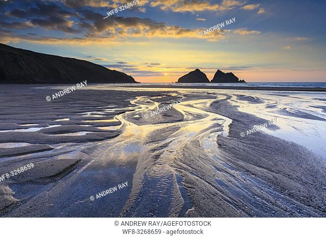 Sunset captured in March from the beach at Holywell Bay on the North Coast of Cornwall. The image was carefully composed to make the most of the stream and...