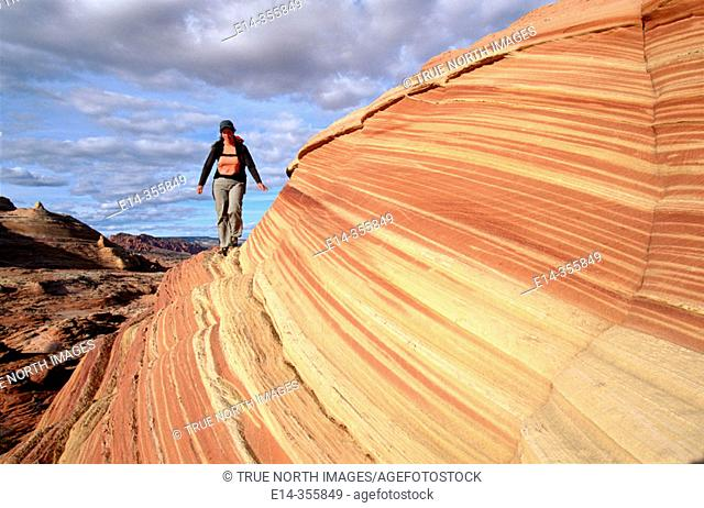 "Hiking. ""The Wave"", Coyote Buttes, Paria wilderness. Arizona. USA"