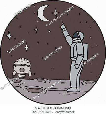 Mono line style illustration of an astronaut in outer space pointing up to the stars and moon with shuttle in the background set inside circle