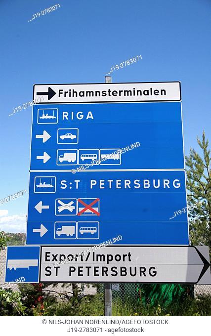 Traffic information sign Stockholm, Sweden