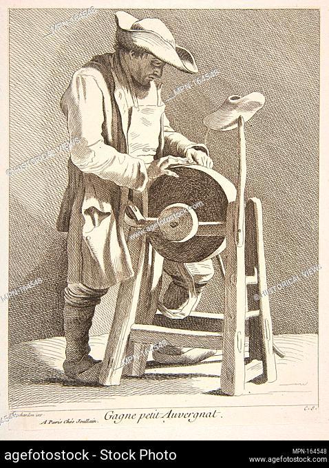 Knife Sharpener. Series/Portfolio: Cries of Paris: Fourth Set; Artist: Anne Claude Philippe de Tubières, comte de Caylus (French
