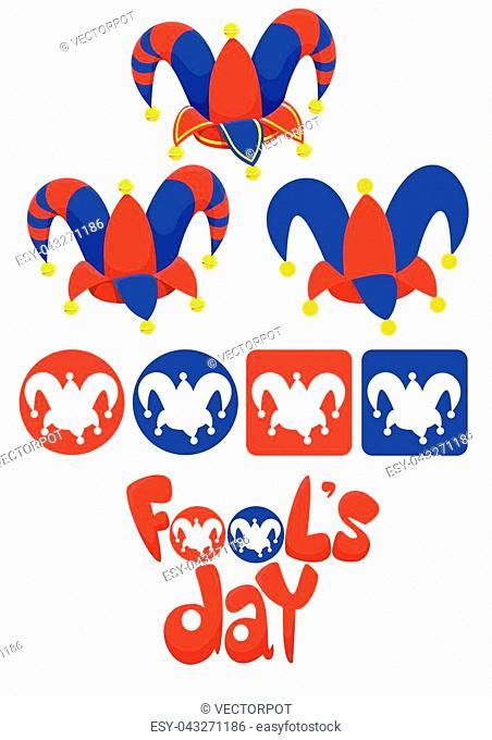 April Fools Day elements set with jester hats and inscription in blue and red colors isolated vector illustration