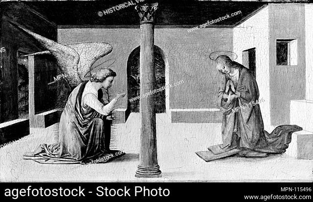 The Annunciation. Artist: Workshop of Fra Filippo Lippi (Italian, Florence ca. 1406-1469 Spoleto); Medium: Tempera on wood; Dimensions: 15 7/8 x 27 1/2 in