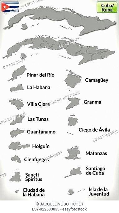 Karte von Kuba mit Grenzen in Grau