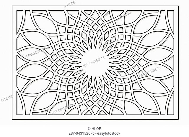 Template for cutting. Flower, geometric pattern. Laser cut. ratio 2:3. Vector illustration
