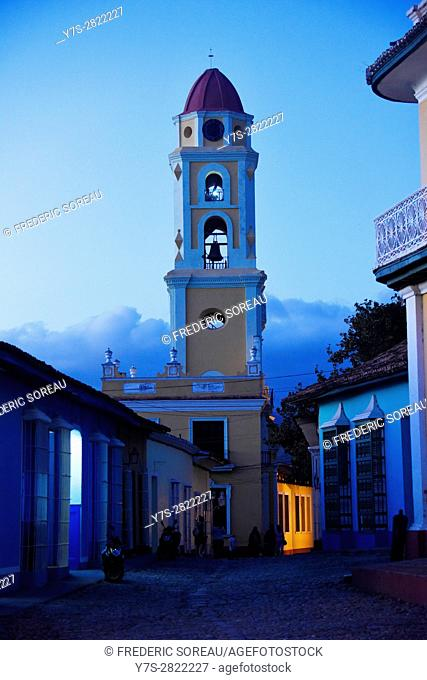 Colonial church with belltower at dusk in Trinidad,Cuba