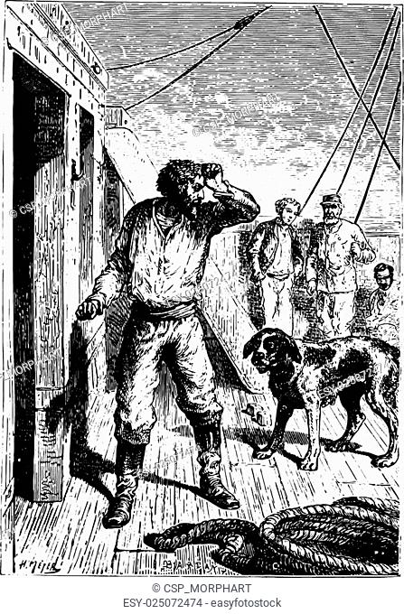 Not without a menacing gesture at the dog had escaped him, vintage engraving
