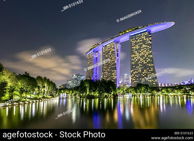 Marina Bay Sands Hotel at dusk, Marina Bay, Downtown Core, Singapore, Asia