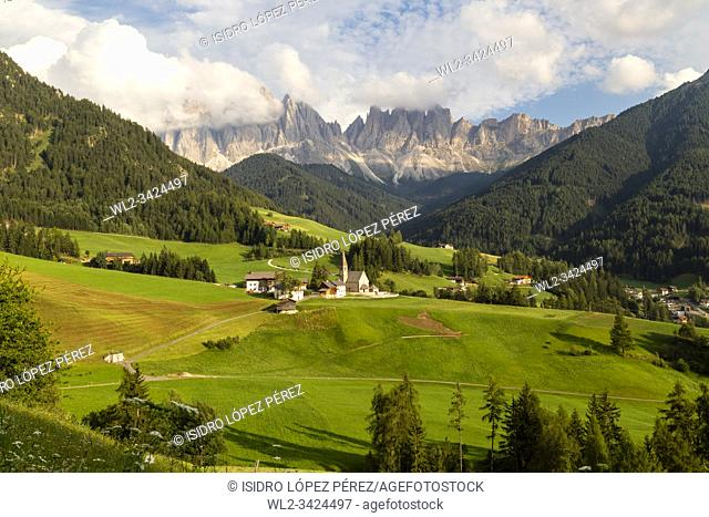 Val di Funes, a beautiful valley where the small Santa Magdalena church marks its strategic position for one of the most impressive postcards of the Dolomites