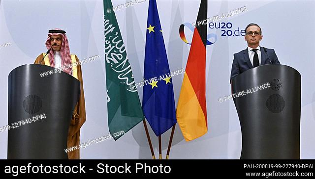 19 August 2020, Berlin: Federal Foreign Minister Heiko Maas (r) and the Saudi Foreign Minister Prince Faisal bin Farhan Al Saud hold a joint press conference