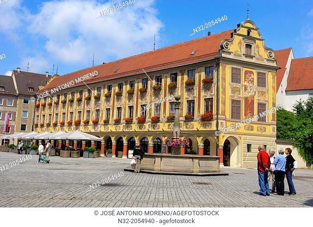 Memmigen, Allgau, Steuerhaus, Hamptons Cafe, market place, Market Square, Allgaeu region, Swabia, Germany, Bavaria,