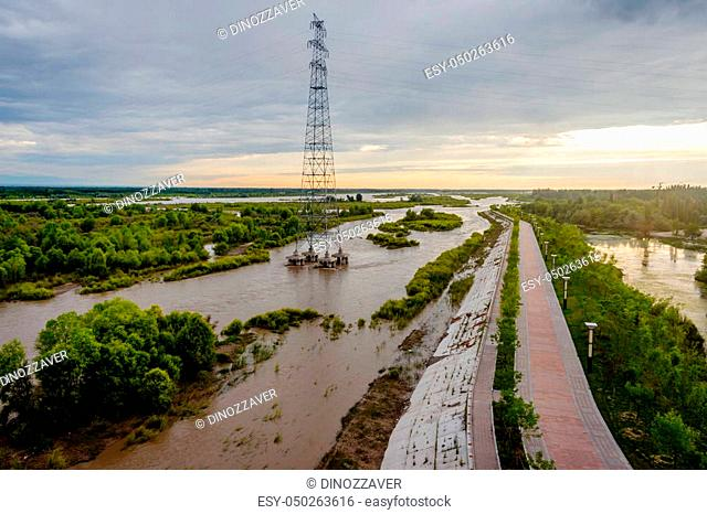 View over Yili (Ili) river, Yining, Xinjiang, China