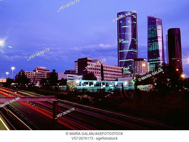 M-30 motorway and Four Towers, night view. Madrid, Spain