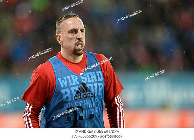 Munich's Franck Ribery warming up for the German Bundesliga football match between FC Augsburg and Bayern Munich at the WWK-Arena in Augsburg, Germany