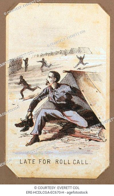 The Civil War, Life in Camp, Late For Roll Call, souvenir card showing the daily life of Union soldiers on the front, in the camp and on furlough