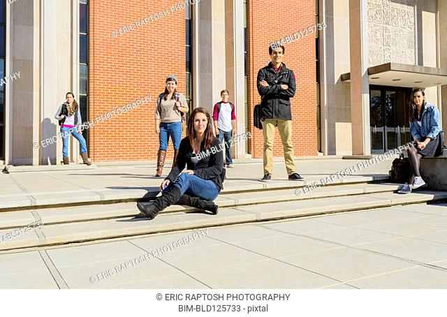 Students on campus steps